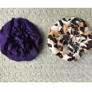 2 ST JOHN ANIMAL PRINT AND PURPLE PIN  BROOCH